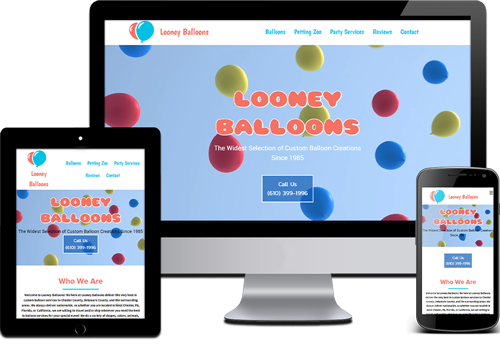 picture of various devices displaying an arts, entertainment, wedding, and balloons website