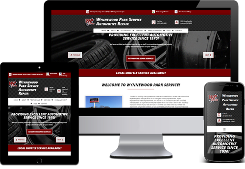 picture of an auto repair shop website
